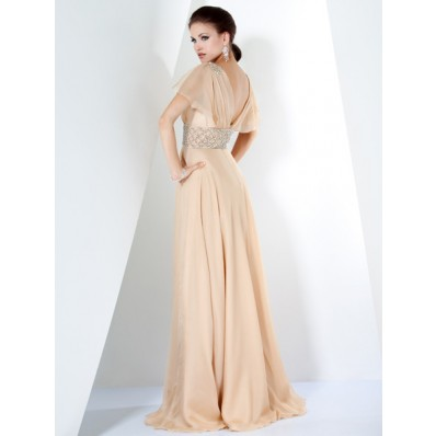 Elegant A Line V Neck Long Champagne Chiffon Beading Women Evening Dress