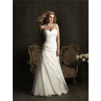 Elegant A line sweetheart organza wedding dresses for plus size brides
