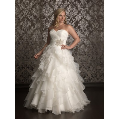 Elegant Ball gown sweetheart sweep train organza plus size wedding dress with ruffles