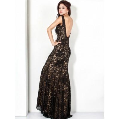 Elegant Mermaid Straps Long Black Lace Beaded Evening Dress Low Back