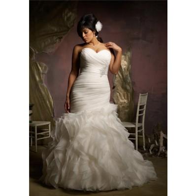 Elegant Mermaid Sweetheart Corset Back Organza Ruffle Plus Size Wedding Dress With Belt