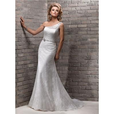 Elegant Sheath One Shoulder Lace Wedding Dress With Swarovski Crystal Belt