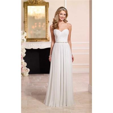 Elegant Sheath Sweetheart Chiffon Beach Wedding Dress Beaded Belt