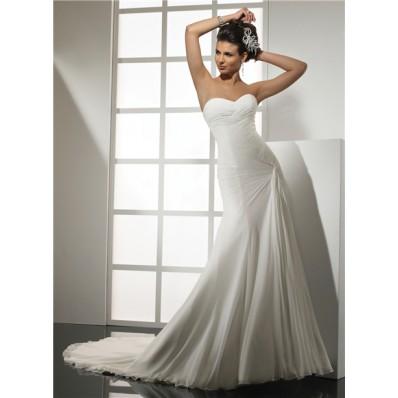 Elegant Simple Mermaid Sweetheart Chiffon Wedding Dress With Pleat Court Train