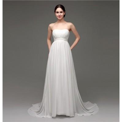 Elegant Strapless Empire Waist Chiffon Beach Wedding Dress With Buttons