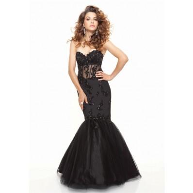Elegant Trumpet/Mermaid sweetheart floor length black see through prom dress