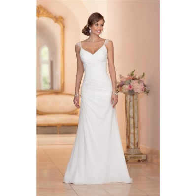 Elegant V Neck Open Back Chiffon Draped Wedding Dress With Lace Straps