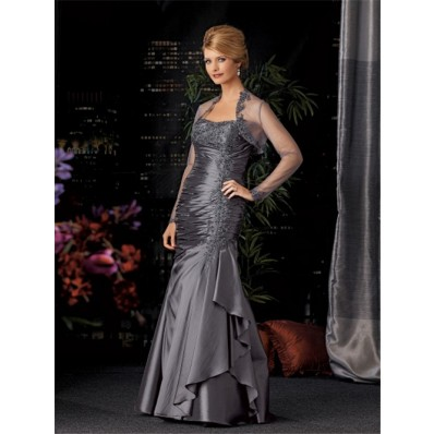 Elegant mermaid long grey taffeta mother of the bride dress with jacket