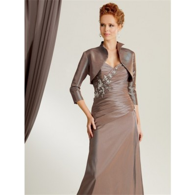 Elegant mermaid sweetheart floor length brown taffeta mother of the bride dress with jacket
