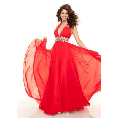 Elegant sheath halter long red chiffon prom dress with beading