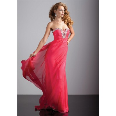 Elegant sheath sweetheart long red chiffon prom dress with beading
