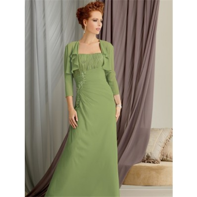 Elegant strapless floor length green chiffon mother of the bride dress with jacket