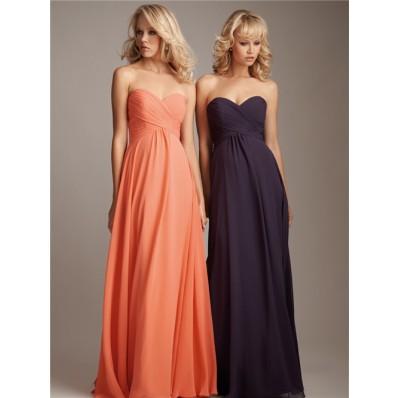 Elegant sweetheart floor length long coral silk chiffon bridesmaid dress