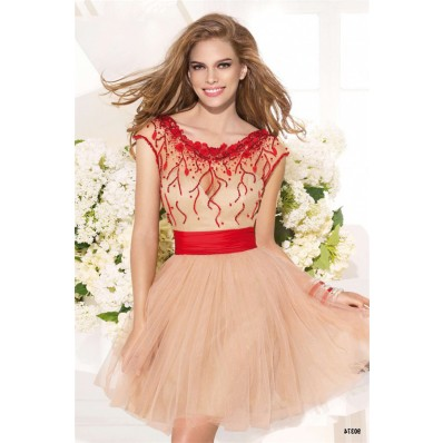 Fantastic Cap Sleeve Champagne Tulle Prom Dress With Red Sash Bow
