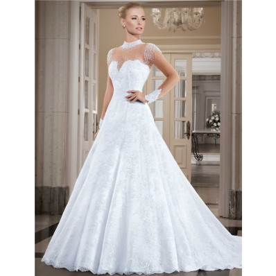 Fantastic High Neck Illusion Long Sleeve Lace Tulle Pearl Wedding Dress