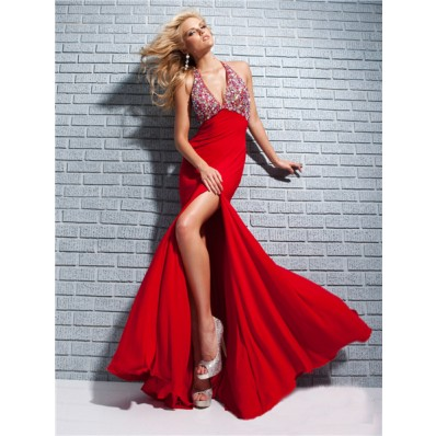 Fashion Mermaid Halter Long Red Chiffon Sparkly Beaded Prom Dress Backless Slit