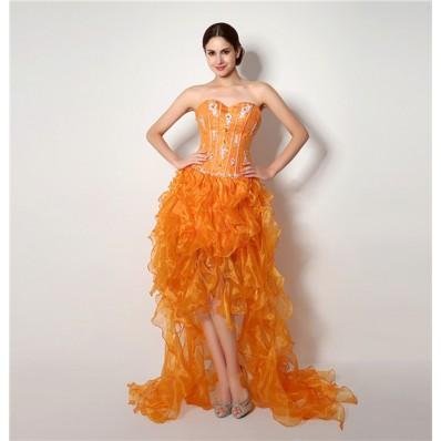 Fashion Strapless High Low Orange Organza Ruffle Corset Prom Dress