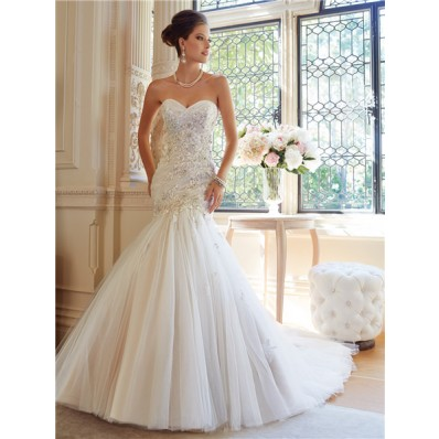 Fit And Flare Mermaid Strapless Tulle Lace Applique Crystal Wedding Dress Corset Back