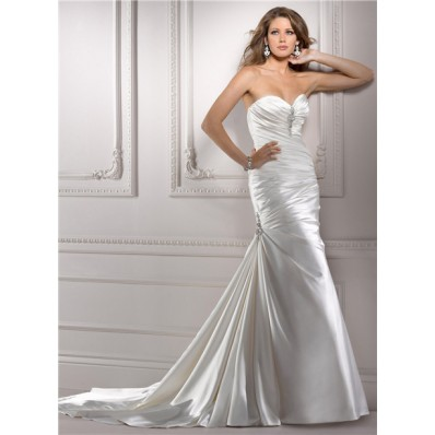 Fit And Flare Mermaid Sweetheart Ruched Satin Wedding Dress With Crystal Beaded