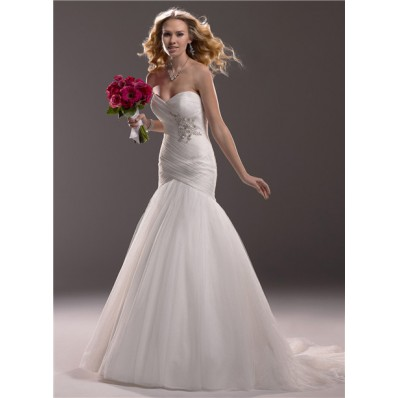 Fit And Flare Mermaid Sweetheart Tulle Wedding Dress With Ruching Crystals