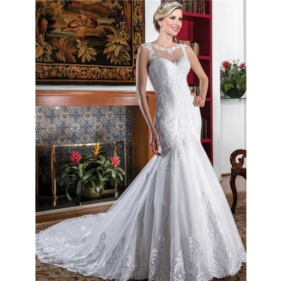 Fit And Flare Sleeveless Illusion Back Tulle Lace Mermaid Wedding Dress