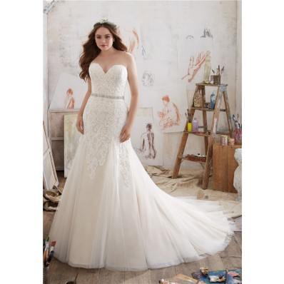 Fitted A Line Strapless Tulle Lace Plus Size Wedding Dress Crystals Belt