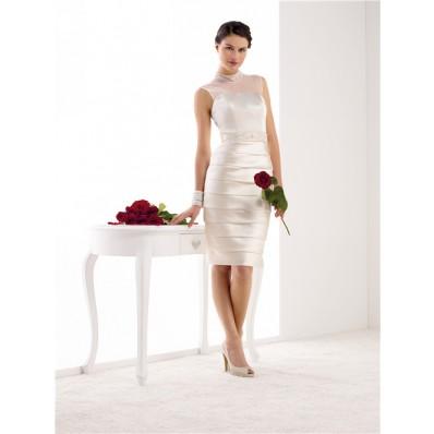 Fitted High Neck Illusion Back Satin Pleated Short Wedding Dress Beaded Sash