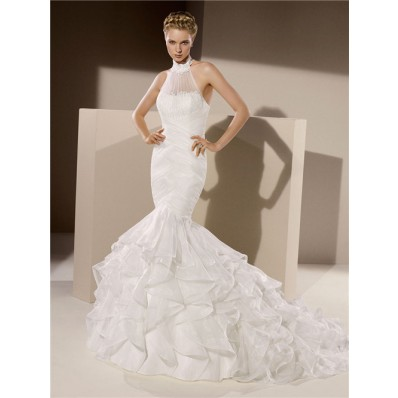 Fitted Mermaid High Neck Ruched Tulle Organza Ruffle Wedding Dress Corset Back