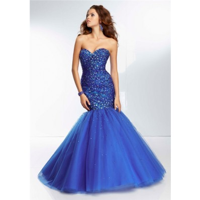 Fitted Mermaid Sweetheart Long Royal Blue Tulle Beaded Prom Dress Corset Back