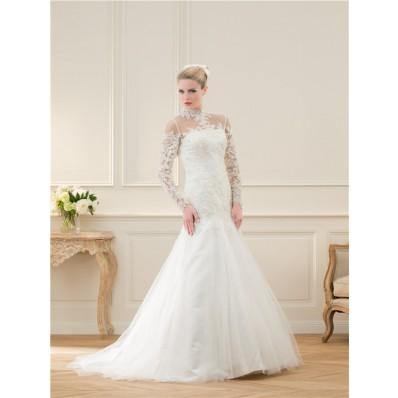 Flared Mermaid High Neck See Through Long Sleeve Lace Beaded Wedding Dress