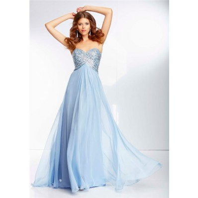 Flowing A Line Sweetheart Empire Waist Light Blue Chiffon Beaded Prom Dress Open Back