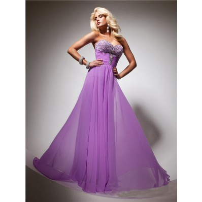 Flowy Sweetheart Long Purple Lilac Chiffon Beaded Evening Prom Dress With Rhinestone