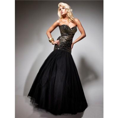 Formal Mermaid Sweetheart Long Black Tulle Gold Beading Evening Prom Dress