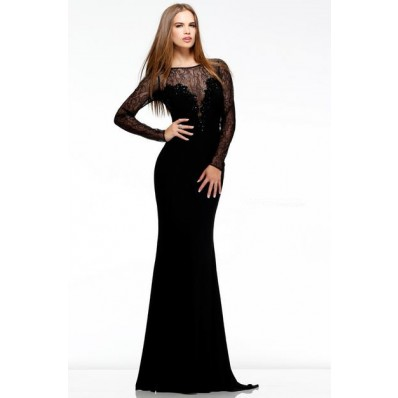 Formal Sheath Illusion Sheer Neckline Long Black Chiffon Lace Evening Prom Dress With Sleeves