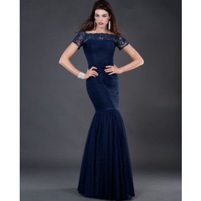 Formal modest mermaid long navy blue chiffon evening dress with lace sleeve