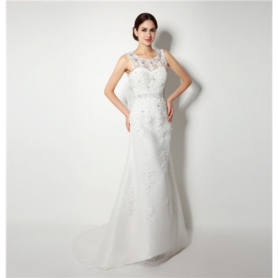 Glamour Mermaid Scoop Neck V Back Lace Beaded Wedding Dress With Bow