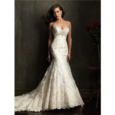 Gorgeous Mermaid Sweetheart Chapel Train Ivory Lace Beaded Wedding Dress With Buttons