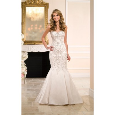 Gorgeous Mermaid Sweetheart Satin Tulle Embroidery Wedding Dress