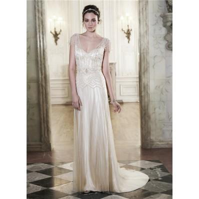 Gorgeous Sheath V Neck Open Back Champagne Satin Tulle Beaded Wedding Dress Cap Sleeves