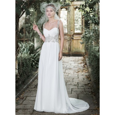 Gorgeous Sweetheart Open Back Chiffon Beaded Destination Garden Wedding Dress With Straps