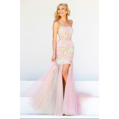 High Low Strapless Sheer See Through Corset Pink Green Lace Tulle Prom Dress
