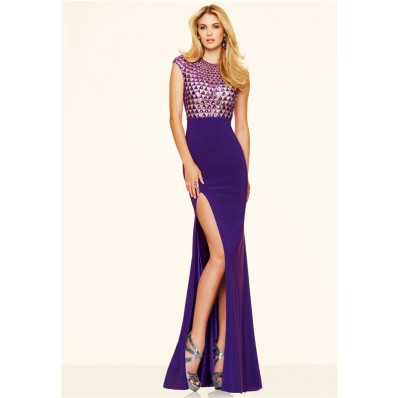 High Slit Cut Out Long Purple Chiffon Beaded Prom Dress With Cap Sleeves