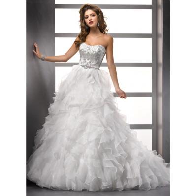 Luxurious Ball Gown Strapless Organza Ruffle Wedding Dress With Beading Swarovski Crystal