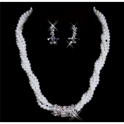 Luxurious pearls Wedding Bridal Jewelry Set,Including Necklace And Earrings