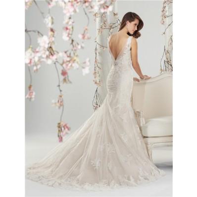 Mermaid Deep V Neck Back Dropped Waist Ivory Lace Beaded Wedding Dress With Crystal