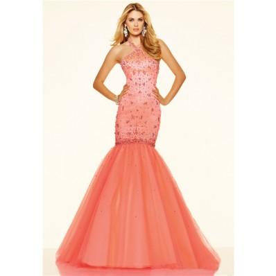 Mermaid Halter Corset Back Coral Satin Tulle Beaded Prom Dress