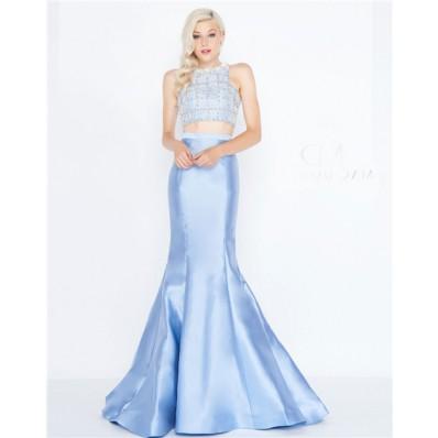 Mermaid High Neck Light Blue Satin Beaded Two Piece Evening Prom Dress