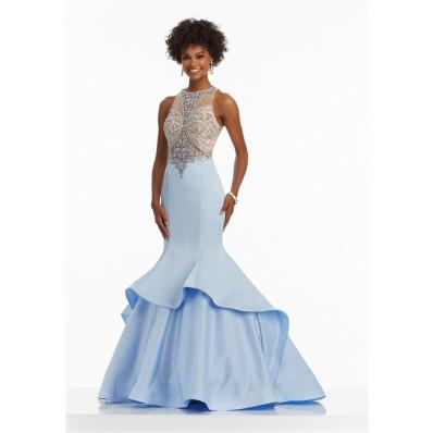 Mermaid High Neck Light Blue Satin Tulle Beaded Prom Dress With Ruffles