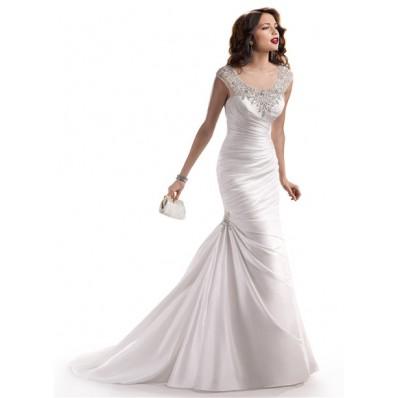 Mermaid Illusion Bateau Neck Tulle Satin Wedding Dress With Sparkle Crystal