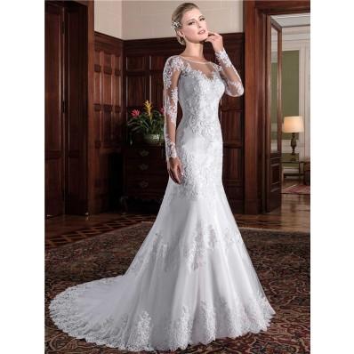 Mermaid Illusion Neckline See Through Back Long Sleeve Lace Wedding Dress